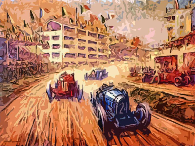 Duello Bugatti Alfa Romeo alle tribune - Frederick Gordon Crosby 1931