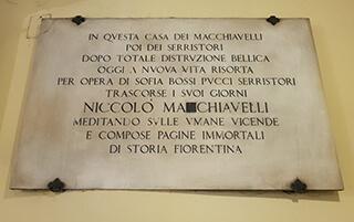 targa ricordo Niccolò Macchiavelli a Firenze