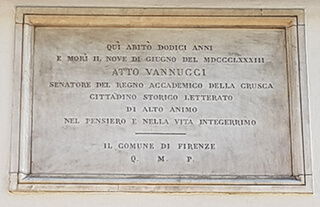 targa  dedicata a Atto Vannucci  a Firenze