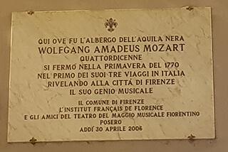 Targa soggiorno Mozart anno 1770 a  Firenze