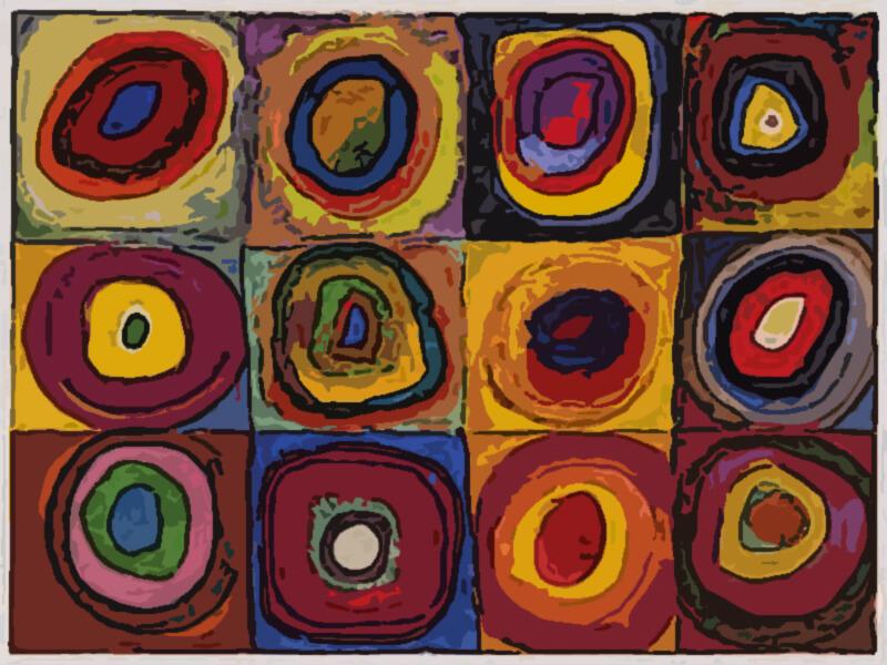 quadrati e cerchi concentrici - Wassily Kandinsky 1913
